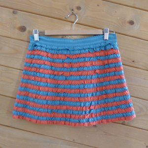 Marc Jacobs Orange Blue Ruffle Mini Tired Skirt 2